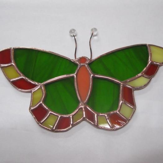 papillon vert en vitrail tiffany