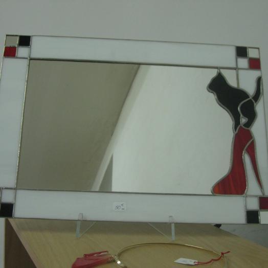 Miroir avec un chat en vitrail tiffany
