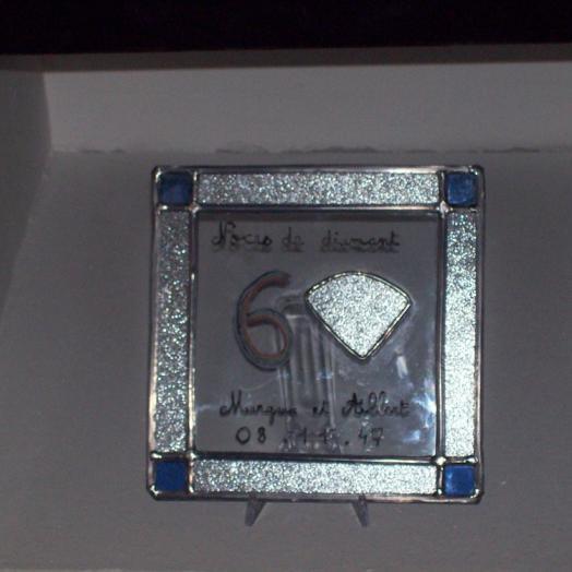 Vitrail carré avec les bords argentés pour des noces de diamant