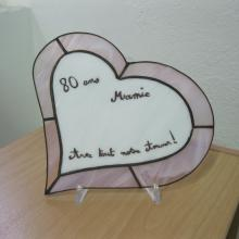Vitrail tiffany en forme de coeur